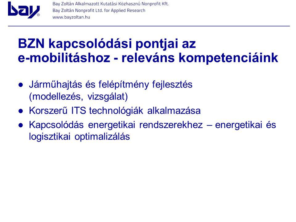 BZN kapcsolódási pontjai az e-mobilitáshoz - releváns kompetenciáink Járműhajtás és felépítmény fejlesztés (modellezés, vizsgálat) Korszerű ITS techno