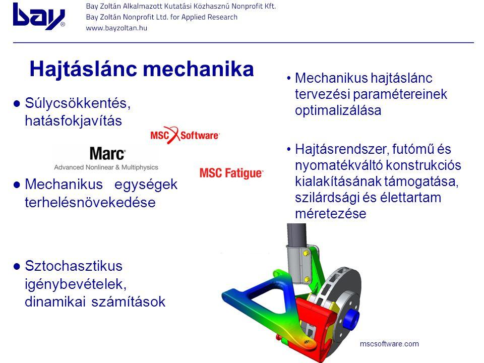 Hajtáslánc mechanika Súlycsökkentés, hatásfokjavítás Mechanikus egységek terhelésnövekedése Sztochasztikus igénybevételek, dinamikai számítások Mechan