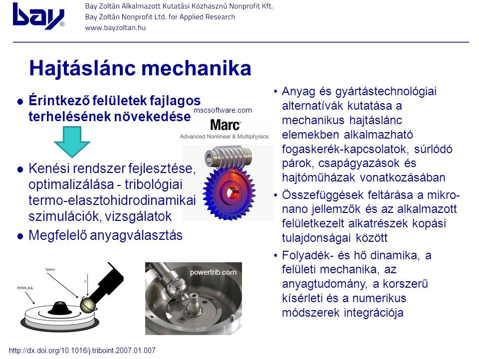 Hajtáslánc mechanika Érintkező felületek fajlagos terhelésének növekedése Kenési rendszer fejlesztése, optimalizálása - tribológiai termo-elasztohidro