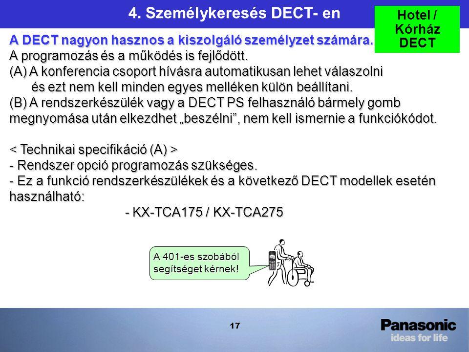 17 4. Személykeresés DECT- en A DECT nagyon hasznos a kiszolgáló személyzet számára.