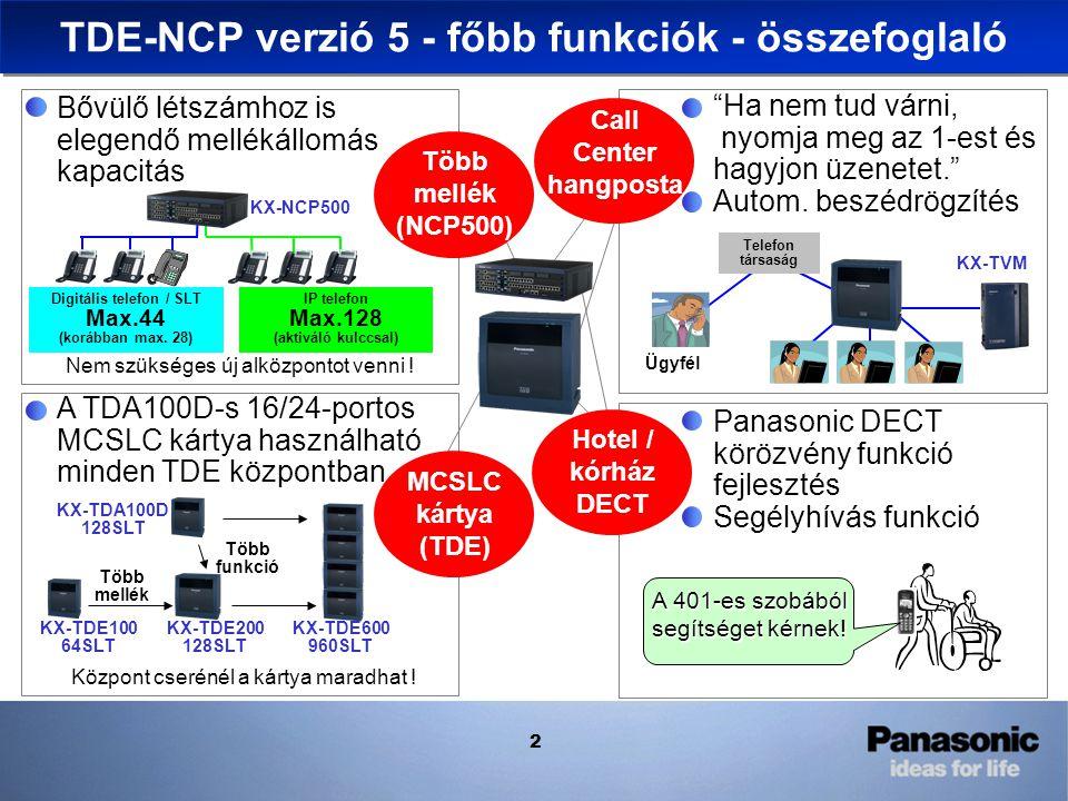 2 Több funkció Több mellék Bővülő létszámhoz is elegendő mellékállomás kapacitás KX-TDE/NCP Version 4 D IP telefon Max.128 (aktiváló kulccsal) A TDA100D-s 16/24-portos MCSLC kártya használható minden TDE központban Call Center hangposta Panasonic DECT körözvény funkció fejlesztés Segélyhívás funkció A 401-es szobából segítséget kérnek.