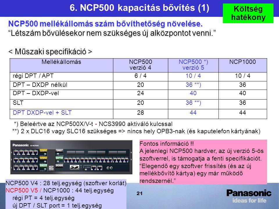 21 Mellékállomás NCP500 verzió 4 NCP500 *) verzió 5 NCP1000 régi DPT / APT6 / 410 / 4 DPT – DXDP nélkül2036 **)36 DPT – DXDP-vel2440 SLT2036 **)36 DPT DXDP-vel + SLT2844 NCP500 V4 : 28 telj.egység (szoftver korlát) NCP500 V5 / NCP1000 : 44 telj.egység régi PT = 4 telj.egység új DPT / SLT port = 1 telj.egység *) Beleértve az NCP500X/V-t - NCS3990 aktiváló kulcssal **) 2 x DLC16 vagy SLC16 szükséges => nincs hely OPB3-nak (és kaputelefon kártyának) 6.
