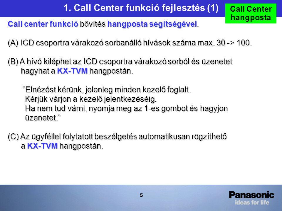 5 1. Call Center funkció fejlesztés (1) Call center funkció bővítés hangposta segítségével.