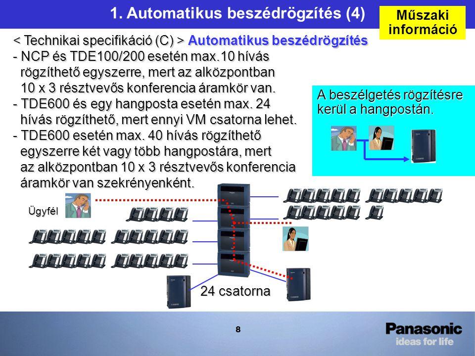 8 1. Automatikus beszédrögzítés (4) Automatikus beszédrögzítés - NCP és TDE100/200 esetén max.10 hívás rögzíthető egyszerre, mert az alközpontban 10 x