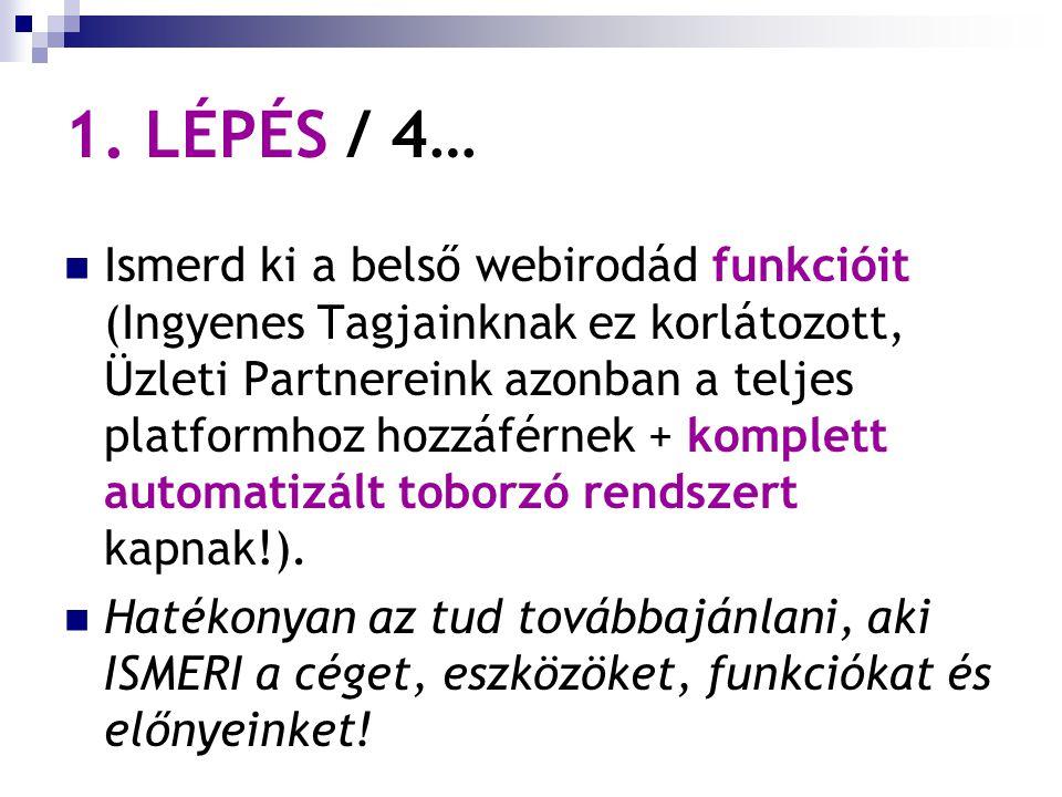1. LÉPÉS / 4… Ismerd ki a belső webirodád funkcióit (Ingyenes Tagjainknak ez korlátozott, Üzleti Partnereink azonban a teljes platformhoz hozzáférnek