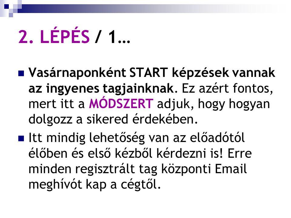 2. LÉPÉS / 1… Vasárnaponként START képzések vannak az ingyenes tagjainknak.