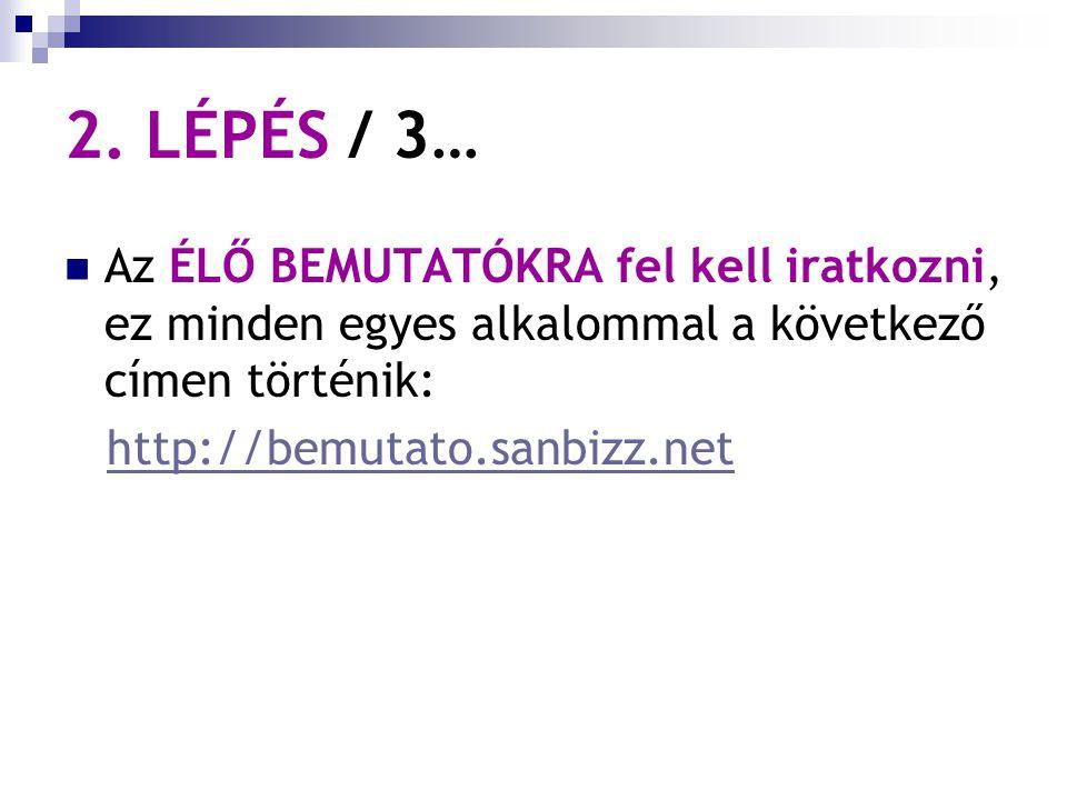 2. LÉPÉS / 3… Az ÉLŐ BEMUTATÓKRA fel kell iratkozni, ez minden egyes alkalommal a következő címen történik: http://bemutato.sanbizz.net