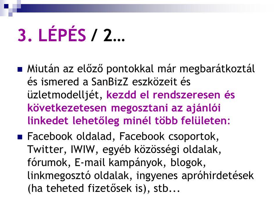 3. LÉPÉS / 2… Miután az előző pontokkal már megbarátkoztál és ismered a SanBizZ eszközeit és üzletmodelljét, kezdd el rendszeresen és következetesen m