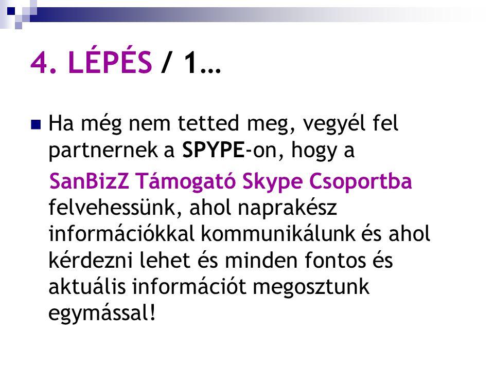 4. LÉPÉS / 1… Ha még nem tetted meg, vegyél fel partnernek a SPYPE-on, hogy a SanBizZ Támogató Skype Csoportba felvehessünk, ahol naprakész információ