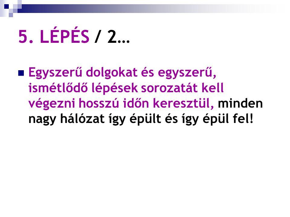 5. LÉPÉS / 2… Egyszerű dolgokat és egyszerű, ismétlődő lépések sorozatát kell végezni hosszú időn keresztül, minden nagy hálózat így épült és így épül