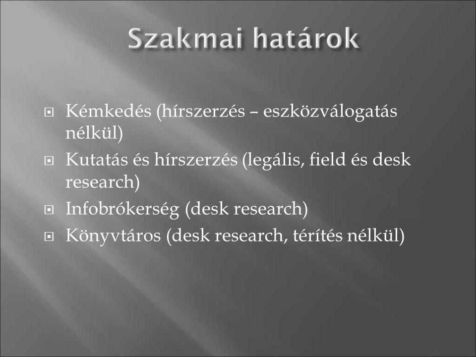  Kémkedés (hírszerzés – eszközválogatás nélkül)  Kutatás és hírszerzés (legális, field és desk research)  Infobrókerség (desk research)  Könyvtáro