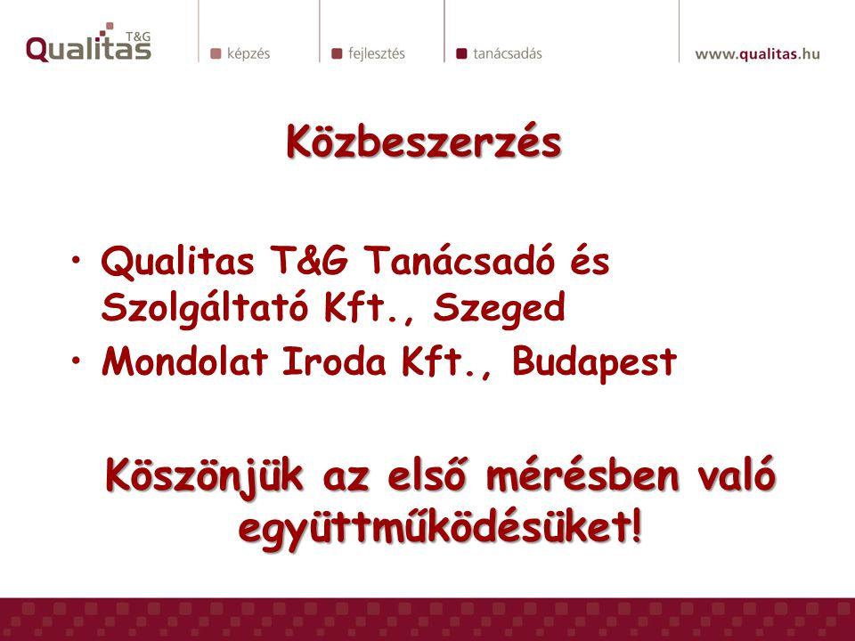 Közbeszerzés Qualitas T&G Tanácsadó és Szolgáltató Kft., Szeged Mondolat Iroda Kft., Budapest Köszönjük az első mérésben való együttműködésüket!