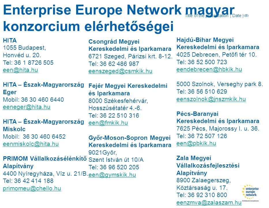 Title of the presentation | Date |‹#› HITA 1055 Budapest, Honvéd u. 20. Tel: 36 1 8726 505 een@hita.hu HITA – Észak-Magyarország Eger Mobil: 36 30 460