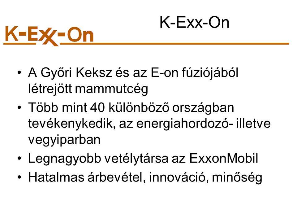 K-Exx-On A Győri Keksz és az E-on fúziójából létrejött mammutcég Több mint 40 különböző országban tevékenykedik, az energiahordozó- illetve vegyiparban Legnagyobb vetélytársa az ExxonMobil Hatalmas árbevétel, innováció, minőség