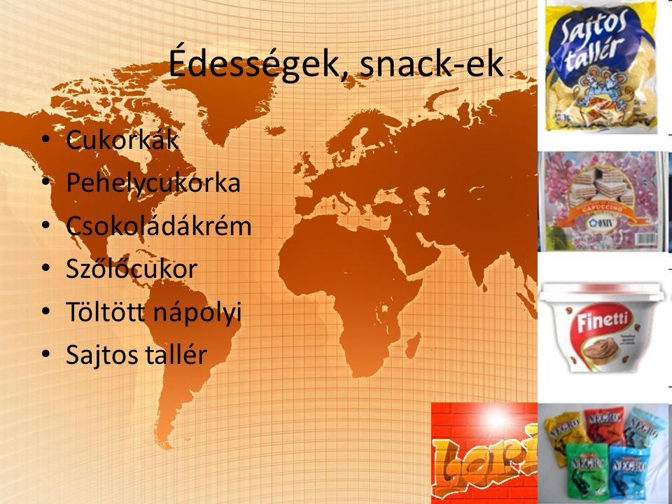 Édességek, snack-ek Cukorkák Pehelycukorka Csokoládákrém Szőlőcukor Töltött nápolyi Sajtos tallér