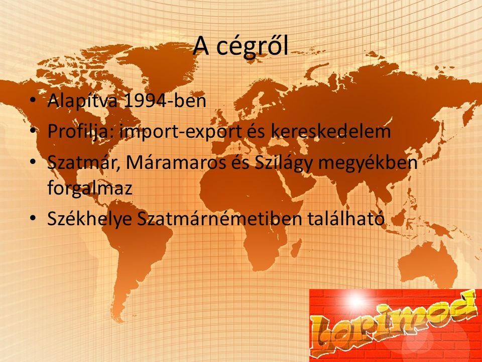 A cégről Alapítva 1994-ben Profilja: import-export és kereskedelem Szatmár, Máramaros és Szilágy megyékben forgalmaz Székhelye Szatmárnémetiben található