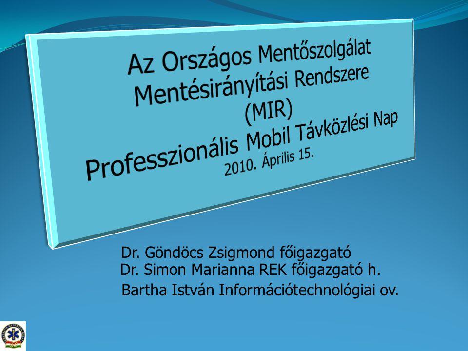 Dr. Göndöcs Zsigmond főigazgató Dr. Simon Marianna REK főigazgató h. Bartha István Információtechnológiai ov.