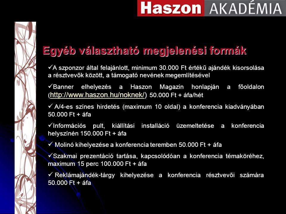A szponzor által felajánlott, minimum 30.000 Ft értékű ajándék kisorsolása a résztvevők között, a támogató nevének megemlítésével Banner elhelyezés a Haszon Magazin honlapján a főoldalon ( http://www.haszon.hu/noknek/) 50.000 Ft + áfa/hét http://www.haszon.hu/noknek/ A/4-es színes hirdetés (maximum 10 oldal) a konferencia kiadványában 50.000 Ft + áfa Információs pult, kiállítási installáció üzemeltetése a konferencia helyszínén 150.000 Ft + áfa Molinó kihelyezése a konferencia teremben 50.000 Ft + áfa Szakmai prezentáció tartása, kapcsolódóan a konferencia témaköréhez, maximum 15 perc 100.000 Ft + áfa Reklámajándék-tárgy kihelyezése a konferencia résztvevői számára 50.000 Ft + áfa Egyéb választható megjelenési formák