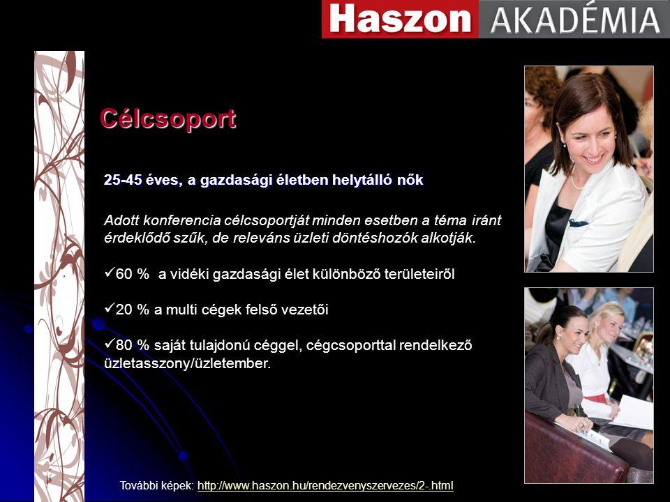 Célcsoport További képek: http://www.haszon.hu/rendezvenyszervezes/2-.htmlhttp://www.haszon.hu/rendezvenyszervezes/2-.html 25-45 éves, a gazdasági életben helytálló nők Adott konferencia célcsoportját minden esetben a téma iránt érdeklődő szűk, de releváns üzleti döntéshozók alkotják.