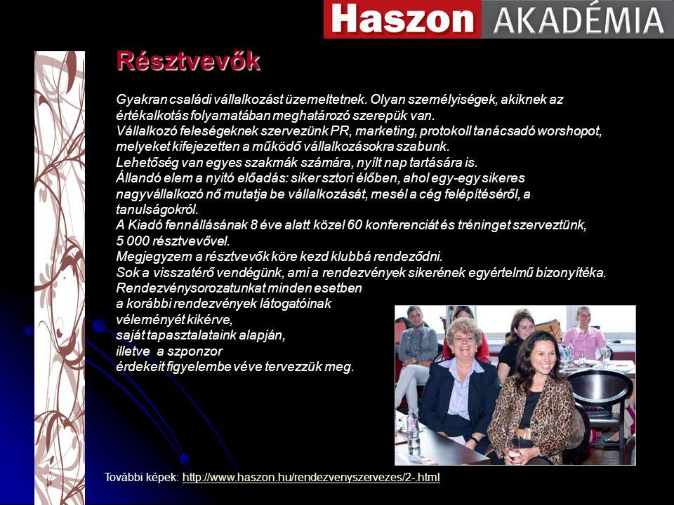 További képek: http://www.haszon.hu/rendezvenyszervezes/2-.htmlhttp://www.haszon.hu/rendezvenyszervezes/2-.html Gyakran családi vállalkozást üzemeltetnek.