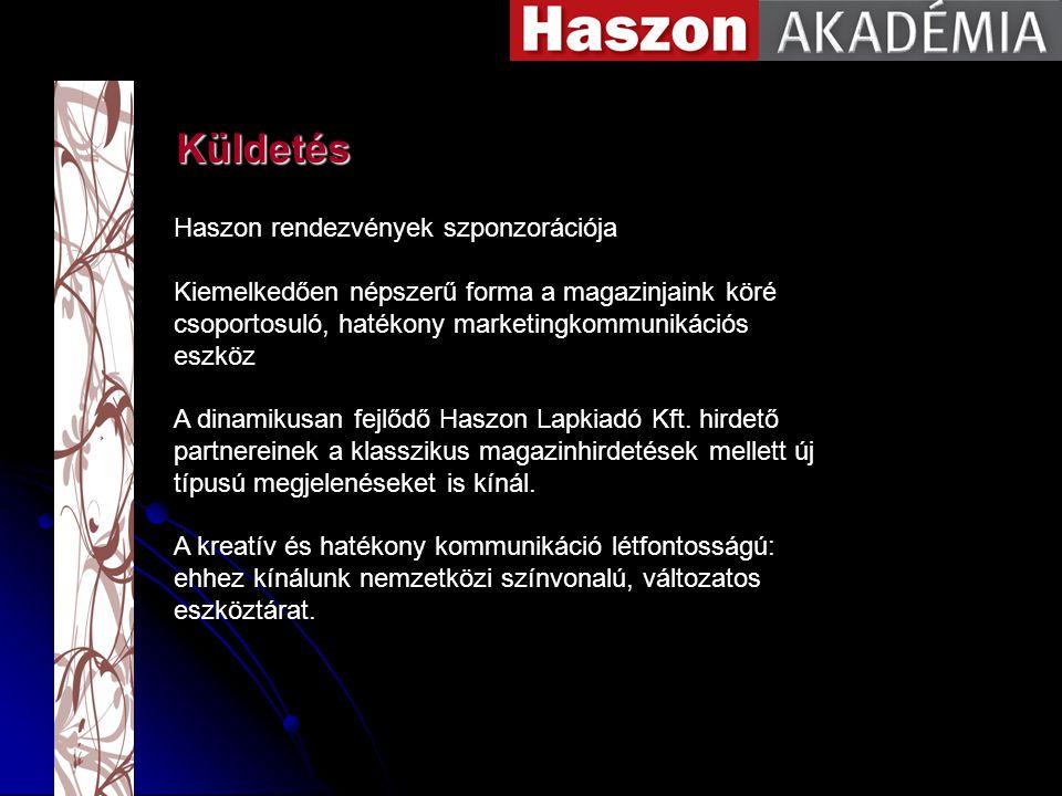 Küldetés Haszon rendezvények szponzorációja Kiemelkedően népszerű forma a magazinjaink köré csoportosuló, hatékony marketingkommunikációs eszköz A dinamikusan fejlődő Haszon Lapkiadó Kft.