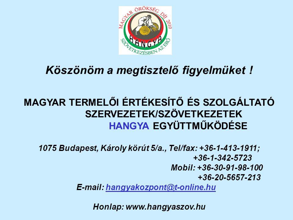 Köszönöm a megtisztelő figyelmüket ! MAGYAR TERMELŐI ÉRTÉKESÍTŐ ÉS SZOLGÁLTATÓ SZERVEZETEK/SZÖVETKEZETEK HANGYA EGYÜTTMŰKÖDÉSE 1075 Budapest, Károly k