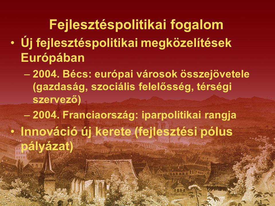 Fejlesztéspolitikai fogalom Új fejlesztéspolitikai megközelítések Európában –2004. Bécs: európai városok összejövetele (gazdaság, szociális felelősség