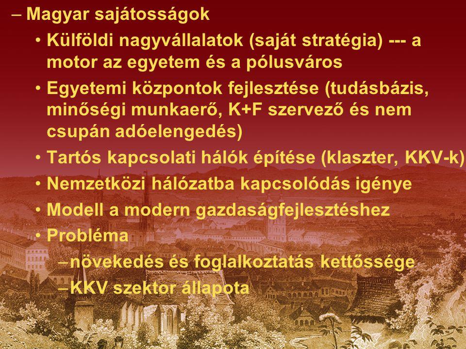 –Magyar sajátosságok Külföldi nagyvállalatok (saját stratégia) --- a motor az egyetem és a pólusváros Egyetemi központok fejlesztése (tudásbázis, minő