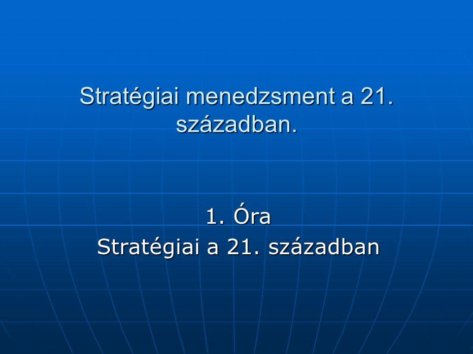 A stratégia fogalmának összetevői A szervezet hosszú-távú jövőjével kapcsolatos, A szervezet hosszú-távú jövőjével kapcsolatos, Versenyelőny létrehozására irányul, Versenyelőny létrehozására irányul, Irányt ad a szervezet akcióinak, és kijelöli a tevékenységek határait, Irányt ad a szervezet akcióinak, és kijelöli a tevékenységek határait, Segít a környezethez való alkalmazkodásban, Segít a környezethez való alkalmazkodásban, Befolyásolja az erőforrások elosztását, Befolyásolja az erőforrások elosztását, A tulajdonosok (és más érdekcsoportok) érdekeinek érvényesítését szolgálja.