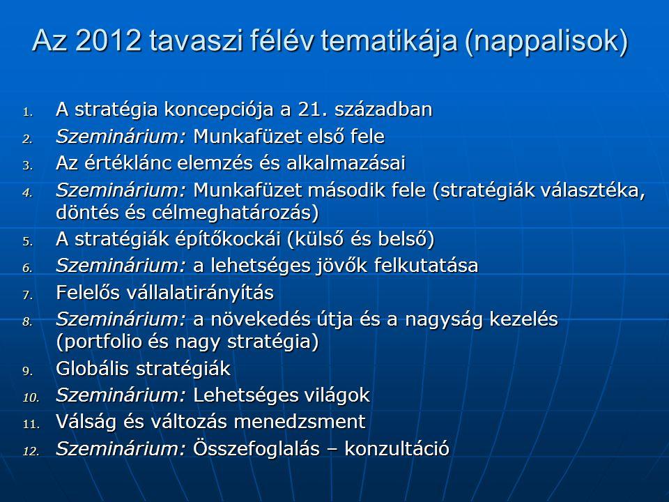 Az 2012 tavaszi félév tematikája (nappalisok) 1. A stratégia koncepciója a 21. században 2. Szeminárium: Munkafüzet első fele 3. Az értéklánc elemzés
