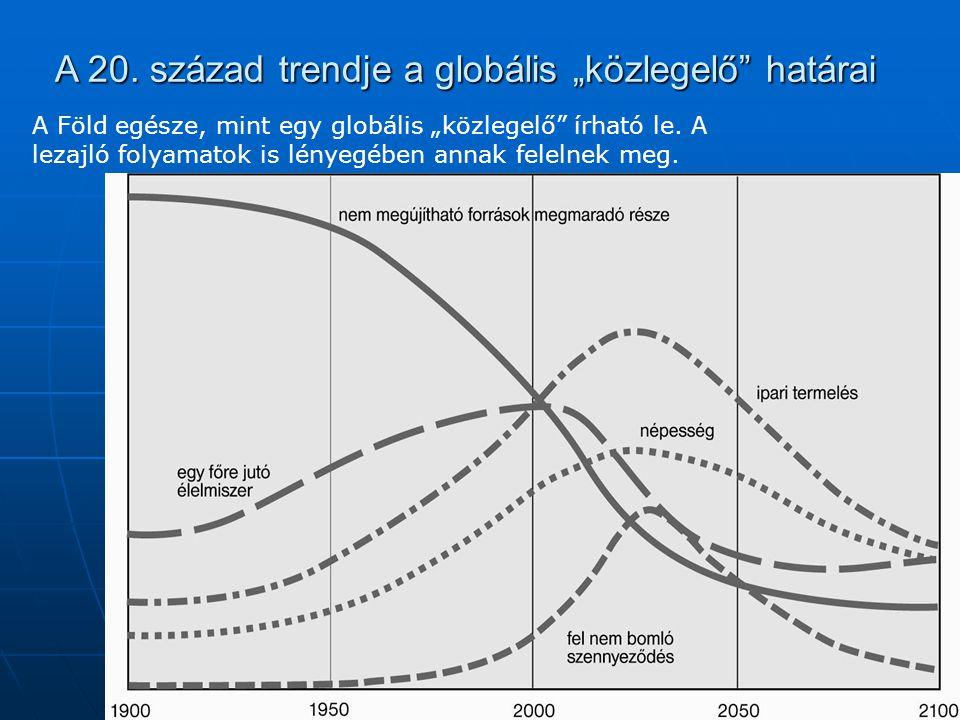 """A 20. század trendje a globális """"közlegelő"""" határai A Föld egésze, mint egy globális """"közlegelő"""" írható le. A lezajló folyamatok is lényegében annak f"""