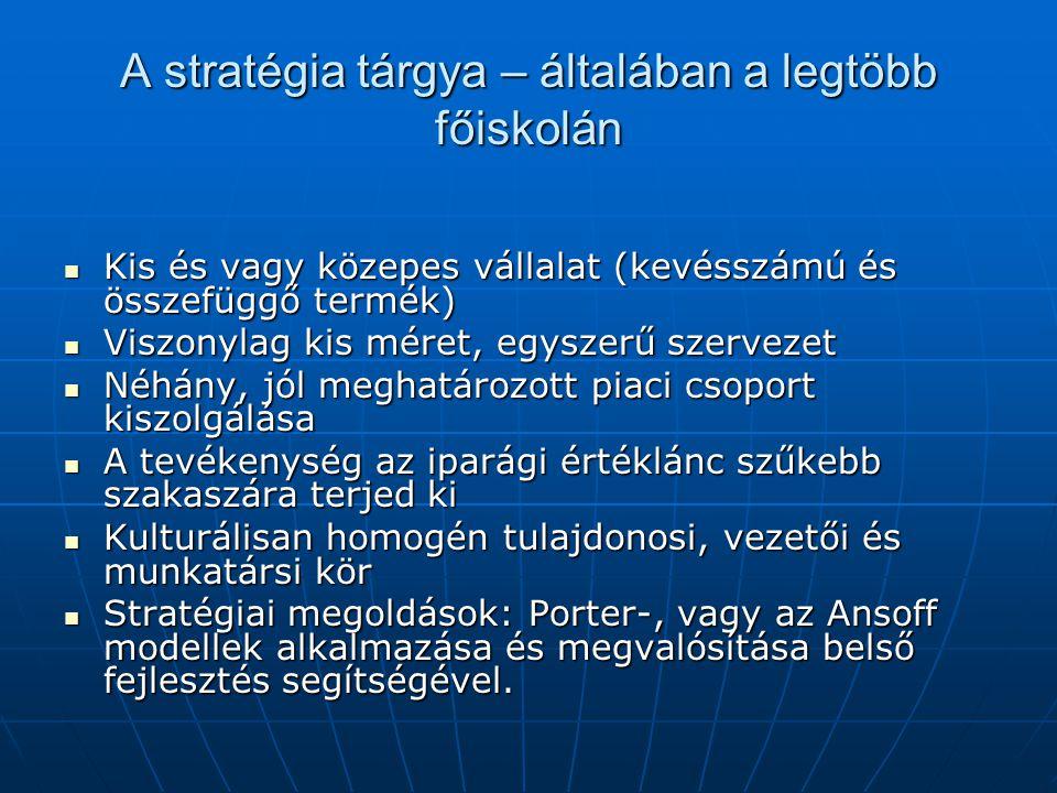 A stratégia tárgya – általában a legtöbb főiskolán Kis és vagy közepes vállalat (kevésszámú és összefüggő termék) Kis és vagy közepes vállalat (kevéss