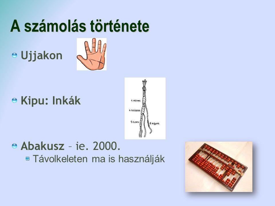 A számolás története Ujjakon Kipu: Inkák Abakusz – ie. 2000. Távolkeleten ma is használják