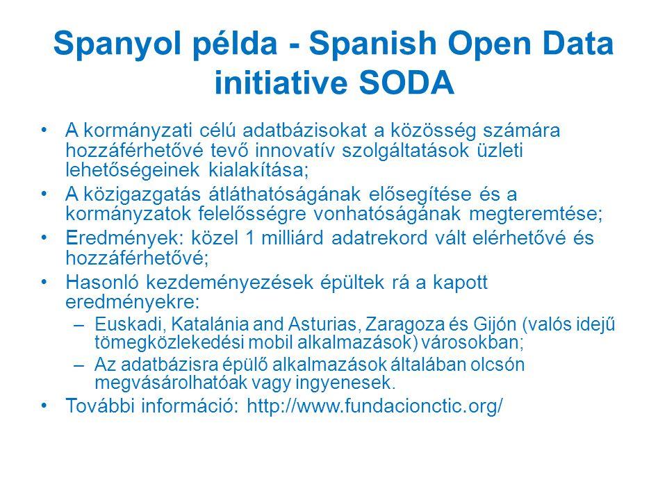 Spanyol példa - Spanish Open Data initiative SODA A kormányzati célú adatbázisokat a közösség számára hozzáférhetővé tevő innovatív szolgáltatások üzleti lehetőségeinek kialakítása; A közigazgatás átláthatóságának elősegítése és a kormányzatok felelősségre vonhatóságának megteremtése; Eredmények: közel 1 milliárd adatrekord vált elérhetővé és hozzáférhetővé; Hasonló kezdeményezések épültek rá a kapott eredményekre: –Euskadi, Katalánia and Asturias, Zaragoza és Gijón (valós idejű tömegközlekedési mobil alkalmazások) városokban; –Az adatbázisra épülő alkalmazások általában olcsón megvásárolhatóak vagy ingyenesek.