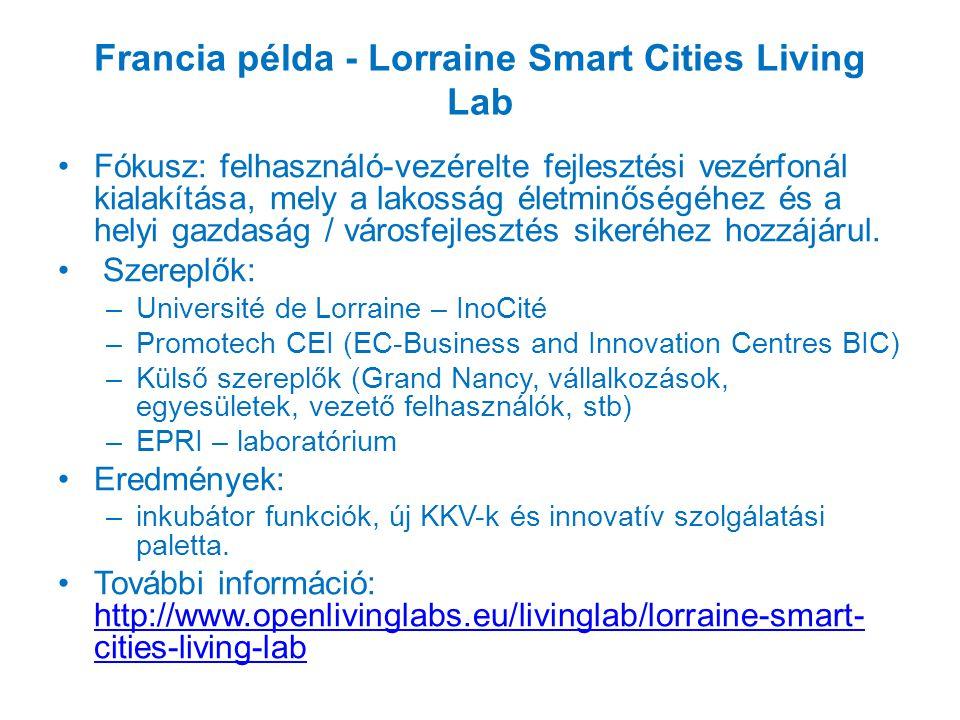Francia példa - Lorraine Smart Cities Living Lab Fókusz: felhasználó-vezérelte fejlesztési vezérfonál kialakítása, mely a lakosság életminőségéhez és a helyi gazdaság / városfejlesztés sikeréhez hozzájárul.