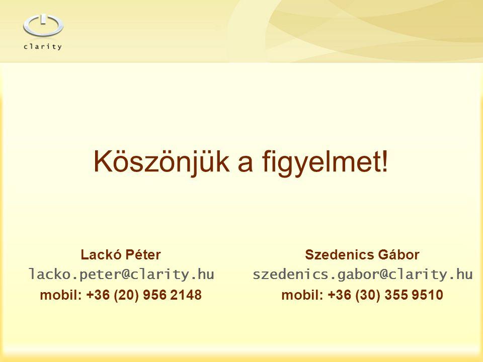 Köszönjük a figyelmet! Lackó Péter lacko.peter@clarity.hu mobil: +36 (20) 956 2148 Szedenics Gábor szedenics.gabor@clarity.hu mobil: +36 (30) 355 9510