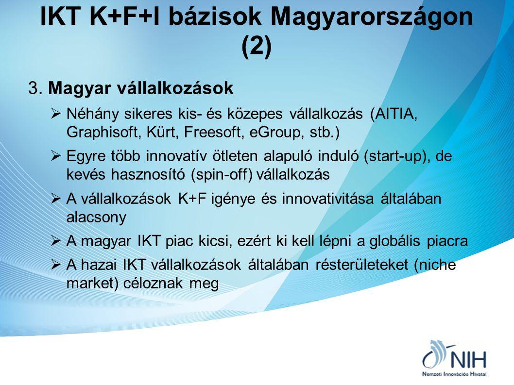 IKT K+F+I bázisok Magyarországon (2) 3. Magyar vállalkozások  Néhány sikeres kis- és közepes vállalkozás (AITIA, Graphisoft, Kürt, Freesoft, eGroup,