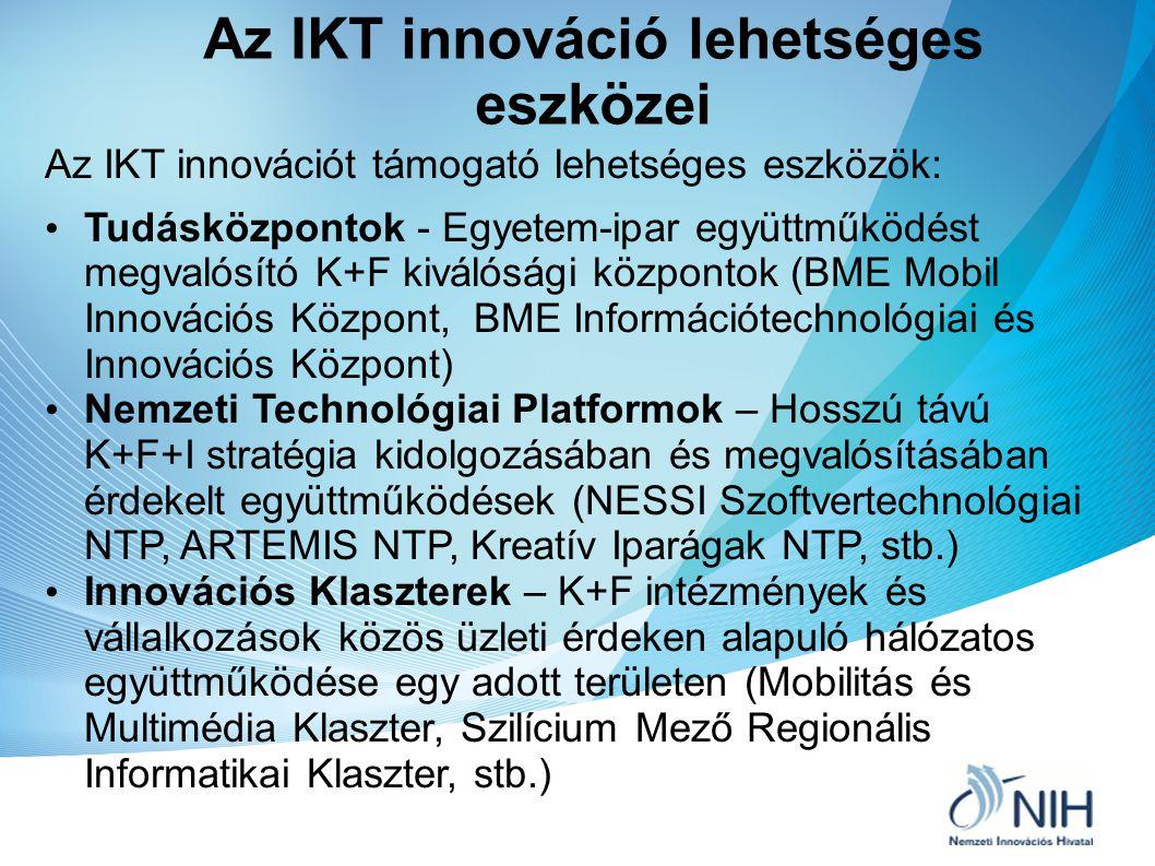 """Az IKT innováció fejlesztésének eszközei (2) """" Élő Laboratóriumok (Living Labs) – A felhasználók bevonása az innovációs lánc minden szakaszába a kutatástól a termékfejlesztésen át a tesztelésig (T-City Szolnok, Budapest Kitchen Budapest) Technológiai inkubátorok – piacképes K+F eredmény vagy innovatív ötlet továbbfejlesztése és üzleti hasznosítása magántőke, kockázati tőke bevonásával (NIH – kidolgozott javaslat Technológiai Inkubátor Program elindítására)"""