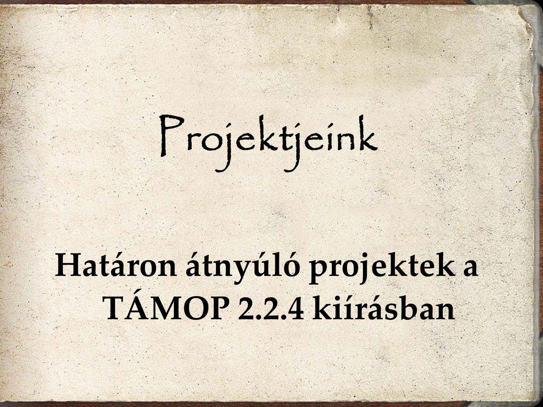 Projektjeink Határon átnyúló projektek a TÁMOP 2.2.4 kiírásban