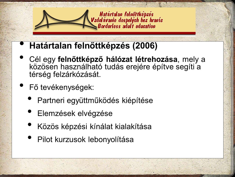 Határtalan felnőttképzés (2006) Cél egy felnőttképző hálózat létrehozása, mely a közösen használható tudás erejére építve segíti a térség felzárkózásá