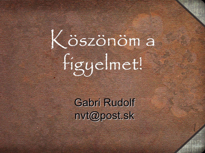 Köszönöm a figyelmet! Gabri Rudolf nvt@post.sk nvt@post.sk
