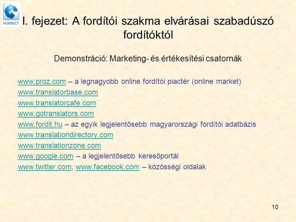 I. fejezet: A fordítói szakma elvárásai szabadúszó fordítóktól Demonstráció: Marketing- és értékesítési csatornák www.proz.comwww.proz.com – a legnagy