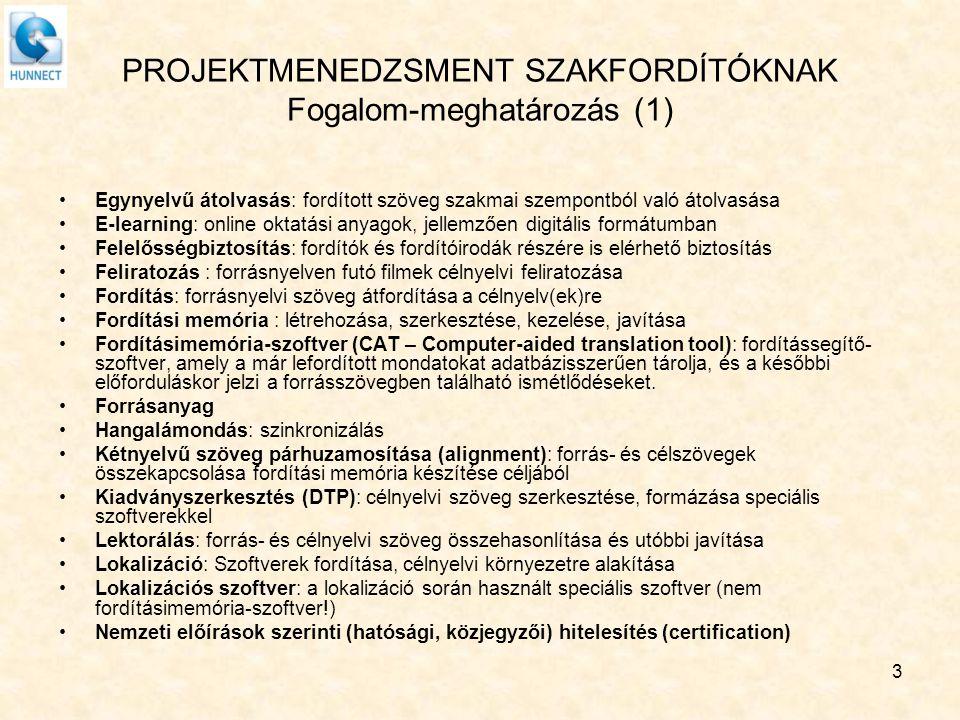 PROJEKTMENEDZSMENT SZAKFORDÍTÓKNAK Fogalom-meghatározás (2) Nyelvi minőség-ellenőrzés (LQA): forrás- és célnyelvi szöveg összehasonlítása értékelési céllal Projekt: minden olyan megbízás, amely a mellék- vagy főállású fordító számára munkát jelent.