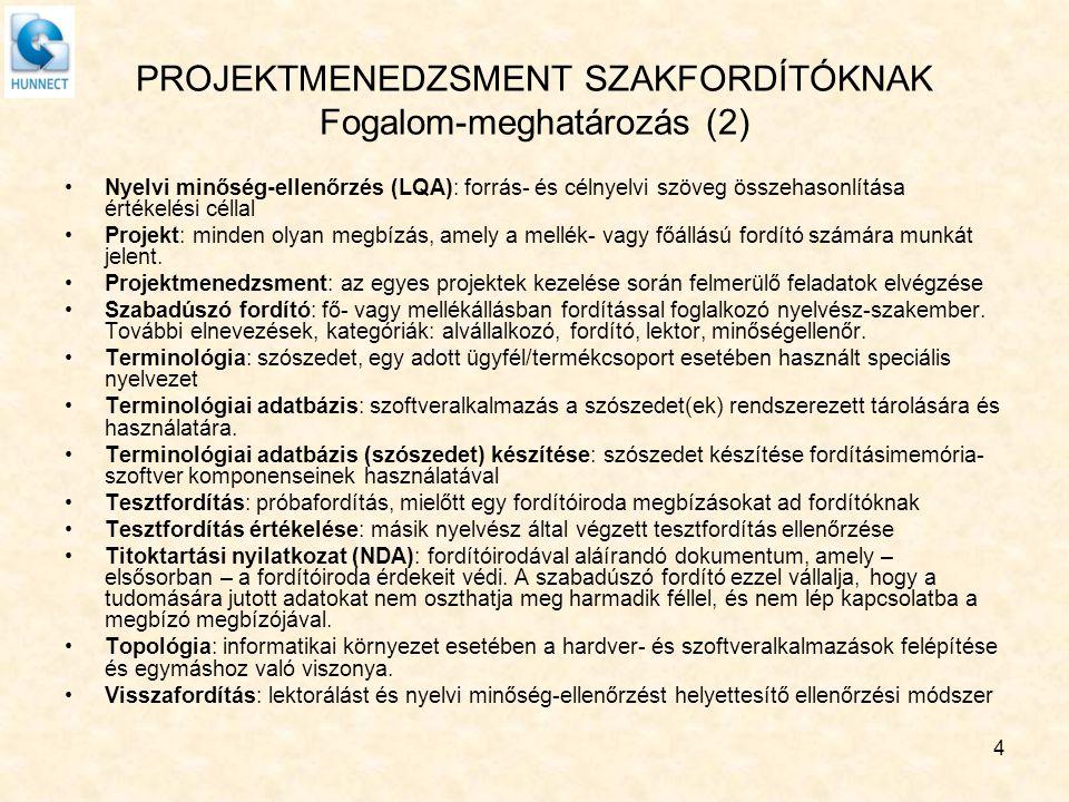 PROJEKTMENEDZSMENT SZAKFORDÍTÓKNAK Fogalom-meghatározás (2) Nyelvi minőség-ellenőrzés (LQA): forrás- és célnyelvi szöveg összehasonlítása értékelési c