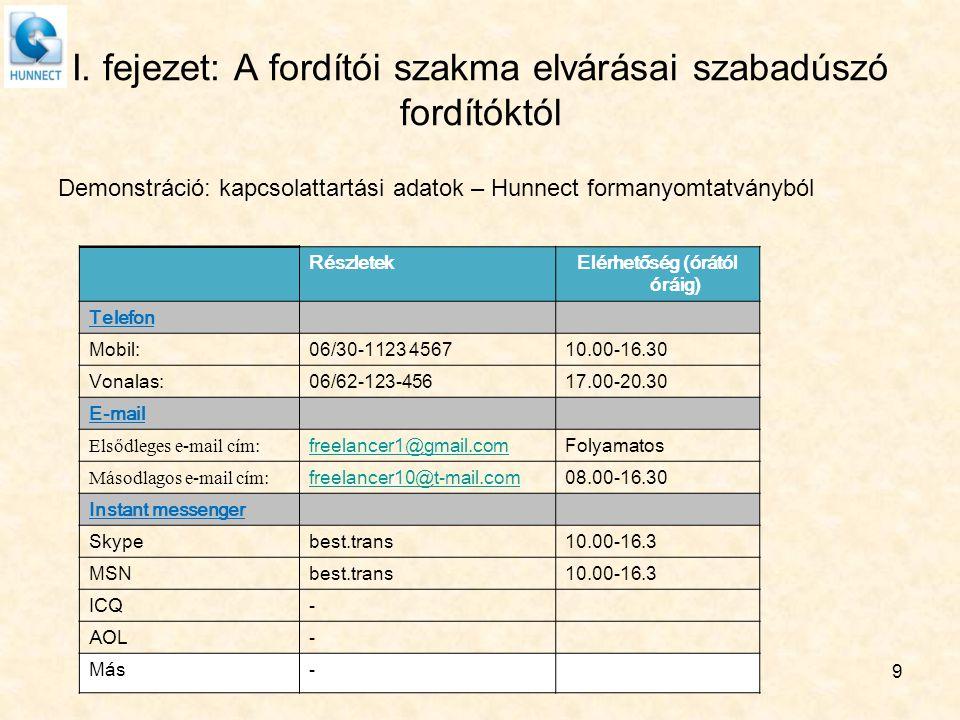 I. fejezet: A fordítói szakma elvárásai szabadúszó fordítóktól Demonstráció: kapcsolattartási adatok – Hunnect formanyomtatványból RészletekElérhetősé