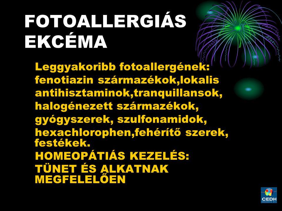 FOTOALLERGIÁS EKCÉMA Leggyakoribb fotoallergének: fenotiazin származékok,lokalis antihisztaminok,tranquillansok, halogénezett származékok, gyógyszerek