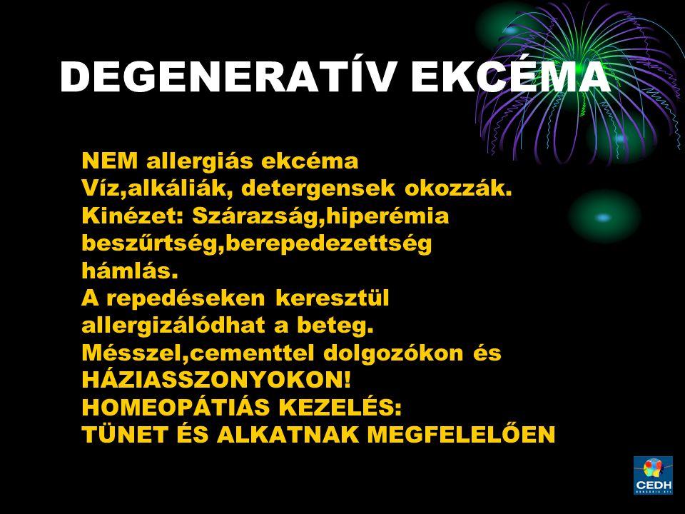 DEGENERATÍV EKCÉMA NEM allergiás ekcéma Víz,alkáliák, detergensek okozzák. Kinézet: Szárazság,hiperémia beszűrtség,berepedezettség hámlás. A repedések