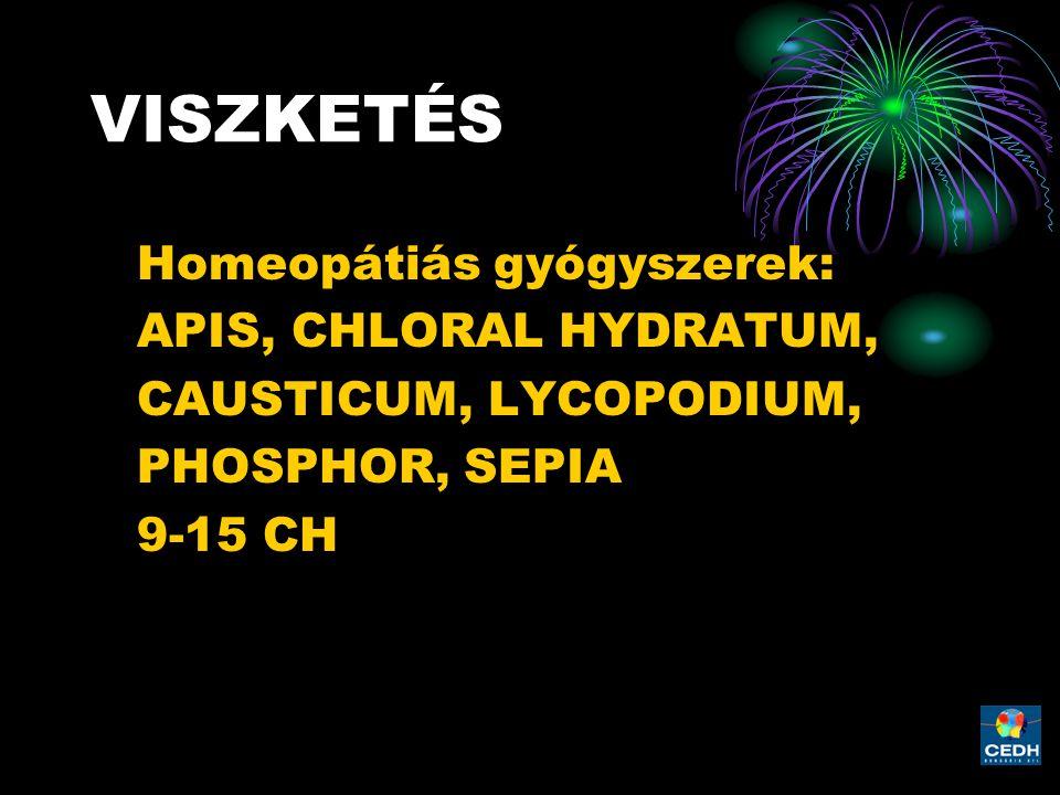 VISZKETÉS Homeopátiás gyógyszerek: APIS, CHLORAL HYDRATUM, CAUSTICUM, LYCOPODIUM, PHOSPHOR, SEPIA 9-15 CH