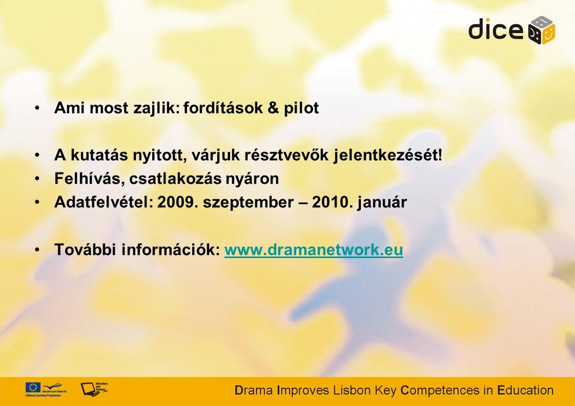 Ami most zajlik: fordítások & pilot A kutatás nyitott, várjuk résztvevők jelentkezését! Felhívás, csatlakozás nyáron Adatfelvétel: 2009. szeptember –