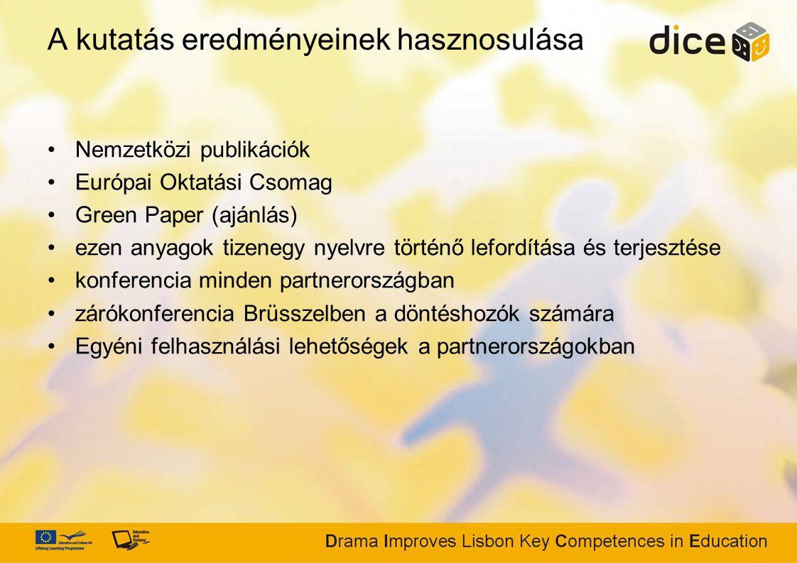 A kutatás eredményeinek hasznosulása Nemzetközi publikációk Európai Oktatási Csomag Green Paper (ajánlás) ezen anyagok tizenegy nyelvre történő lefordítása és terjesztése konferencia minden partnerországban zárókonferencia Brüsszelben a döntéshozók számára Egyéni felhasználási lehetőségek a partnerországokban
